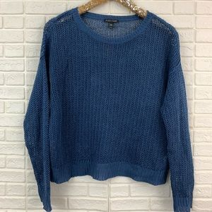 Eileen Fisher 100% organic linen blue knit sweater